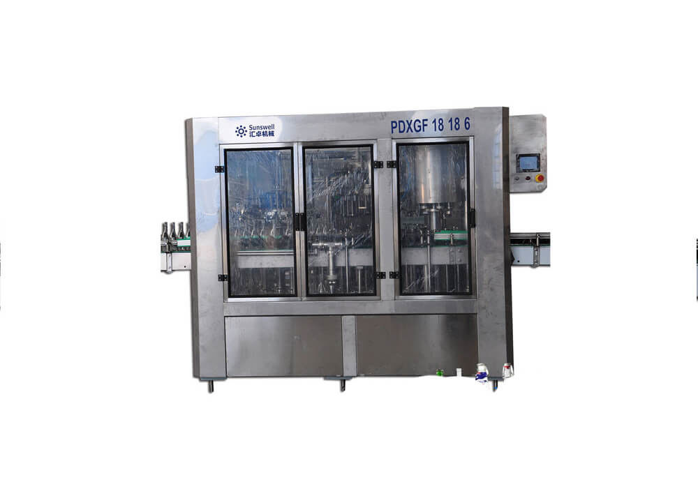 Full Automatic Glass Bottle Beer Washing Filling Capping Machine With Crown Cap Bottling Plant